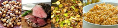 Chickpeas, roast beef, mushrooms and leeks, wheat pilaf